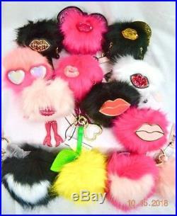 Victorias Secret ANGEL WING BLING POM POM RUNWAY Key Ring Chain BAG CHARM NWT