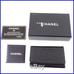 Vintage Chanel Caviar Skin Black 6 Ring Keychain Accessory. NFV4577