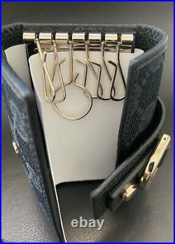 Vintage Gucci Logo GG Black Key Keychain Wallet With Box