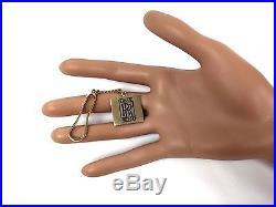 Vintage Rolls Royce Solid 14K Gold & Black Enamel Keychain/Key Ring/Key Holder