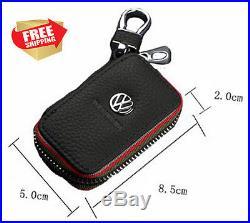 Volkswagen Premium Leather Car Key Chain Holder Zipper Case Remote Wallet