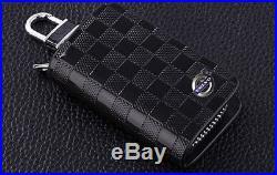 Volvo Leather Car Key Keychain Fob Case Holder Zipper Case Cover Black