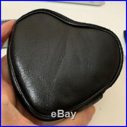 Yves saint laurent black leather heart coin purse keychain bag ysl